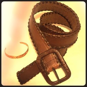 brown leather banana republic wrapped buckle belt